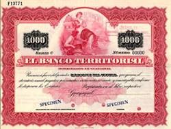 El Banco Territorial $1000 Bond - Guayaquil, Ecuador