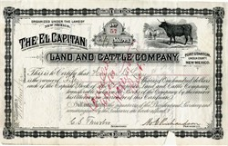 El Capitan Land and Cattle Company - New Mexico Block Ranch  - 1885