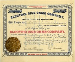 Electric Dice Game Company -  Illinois 1893