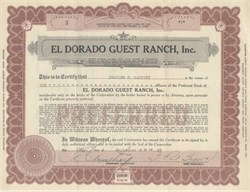 El Dorado Guest Ranch, Inc 1929