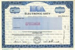 Electronic Arts RARE Specimen Stock Certificate - California 1989
