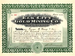 Elk City Gold Mining Co. signed by George W. Young  - South Dakota 1910