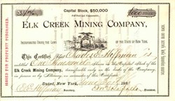 Elk Creek Mining Company 1881 - New York