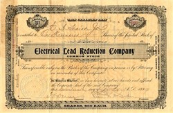 Electrical Lead Reduction Company signed by Pedro G. Salom co founder of the First U.S. Electric Car - Delaware 1899