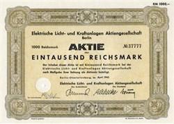 Elektrische Licht - und Kraftanlagen  AG, Berlin  1943 -  WWII Era