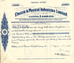 Electric & Musical Industries Limited (Became EMI Records)  - England 1936