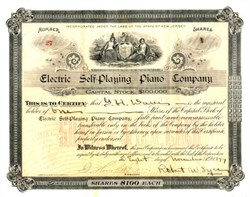 Electric Self Playing Piano Company signed by Electric Piano Inventor - 1897