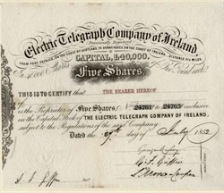 Electric Telegraph Company of Ireland (Early Telegraph Certificate) - 1852