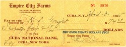 Empire City Farms Check (Empire City Stud Farm) - Cuba, New York 1915