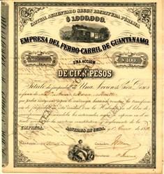 Empresa Del Ferro Carril De Guantanamo - Cuba 1882