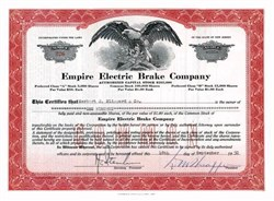Empire Electric Brake Company 1950 - New Jersey ( Chrysler and Buick Supplier )