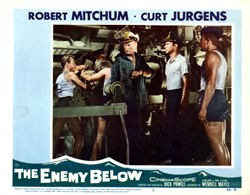 The Enemy Below Lobby Card Starring Robert Mitchum and Curt Jurgens - 1957