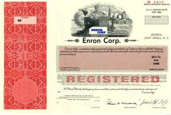 Enron Corporation - 1988 - 10 3/4% Note with Ken Lay as Chairman