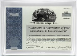 Enron Corp. Lucite Miniature Stock Certificate Award - 1998 - NYSE