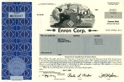 "Enron Corporation Stock Certificate - Crooked ""E"" Logo .2004"