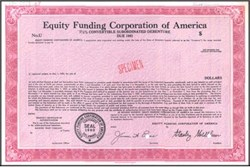 Equity Funding Corporation of America - RARE Fraud Specimen Certificate