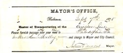 Check issued to Ericsson Line signed by Mayor - Baltimore, Maryland 1875