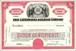 Erie Lackawanna Railroad Company  Stock Certificate PLUS Postcard