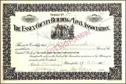 Essex County Building and Loan Association 1908 - Bloomfield, New Jersey
