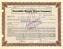 Escondido Mutual Water Company - Escondido, California 1937