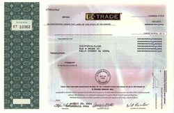 Etrade - Online Stock Broker (No longer issues a stock certificate)