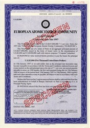European Atomic Energy Community - RARE $5,000 Specimen Bond Certificate  - 1987