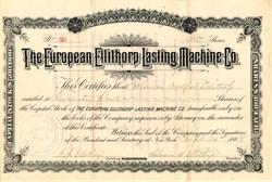 European Ellithorp Lasting Machine Co. - New York 1888