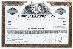 European Investment Bank  (RARE $1000 Specimen Bond) - 1978