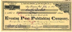 Evening Post Publishing Company - San Francisco, California 1887