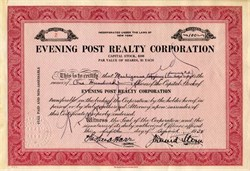 Evening Post Realty Corporation signed by  J. David Stern (New York Post) - New York 1934