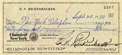 Eddie Rickenbacker  signed Check - New York 1970