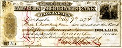 Farmers and Merchants Bank of Los Angeles Certificate of Deposit signed by Isaias W. Hellman Pioneer and U.S.C. Founder - 1874