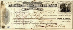 Farmers and Merchants Bank of Los Angeles - 1871 signed by Isaias W. Hellman and Prudent Beaudry
