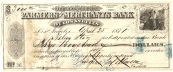 Farmers and Merchants Bank of Los Angeles - 1871 signed by Isaias W. Hellman and Nelson Story