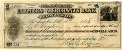 Farmers and Merchants Bank of Los Angeles with G.D. Compton (City of Compton Founder) & Downey (City of Downey Founder) Autographs - 1872