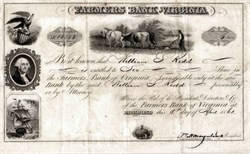 Farmers Bank of Virginia (Slave Bank)  - Richmond, Virginia 1861 - Dated in month Civil War Started