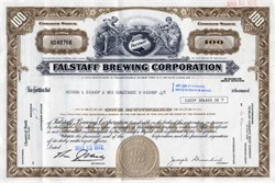 Falstaff Brewing Corporation  ( Rare Uncancelled Certificate)  - Missouri