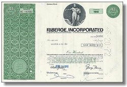 Faberge Stock Certificate 100 shares