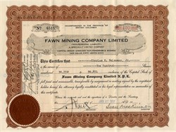 Fawn Mining Company Limited  - British Columbia, Canada 1937