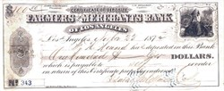 Farmers and Merchants Bank of Los Angeles 1872 signed by Isaias W. Hellman Business Leader and a founding father of the University of Southern California (U.S.C.)