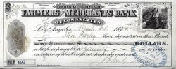 Farmers and Merchants Bank of Los Angeles 1874 signed by Civil War California Governor John G. Downey - Named City of Downey after him