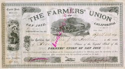 Farmers Union of San Jose, California 1890