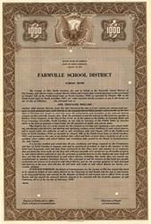 Farmville School District School Bond - North Carolina 1949