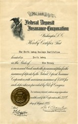 Federal Deposit Insurance Corporation Certificate - Washington DC 1935