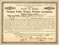 Fergus Falls Water Works Company 1903