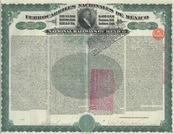 National Railways of Mexico (Ferrocarriles Nacionales De Mexico) - $100 Gold Bond 1907