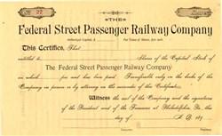Federal Street Passenger Railway Company - Pennsylvania 1890's