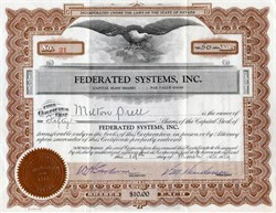 Federated Systems, Inc. - Nevada 1929 signed by Milton Prell founder of the Sahara Hotel