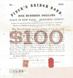 Finck's Bridge Bond - Finck's Basin, Herkimer County, New York 1869