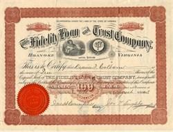 Fidelity Loan and Trust Company - Roanake, Virginia 1893